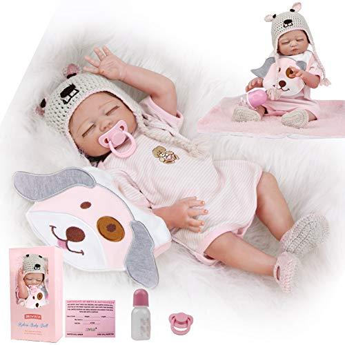 ZIYIUI Muñecas Reborn Realista 20 Pulgadas 50 cm Bebe Reborn Silicona Cuerpo Completo Bebé Reborn Niña Recien Nacidos con los Ojos Cerrados Muñecas para Niñas