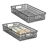 mDesign 2er-Set Drahtkorb aus Metall – breiter Allzweckkorb zur Aufbewahrung auf der Arbeitsplatte, in der Küche, Speisekammer etc. – auch als Schrankkorb geeignet – mattschwarz