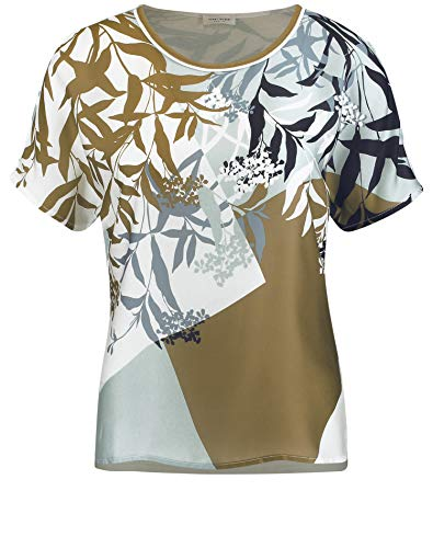 Gerry Weber Damen Blusenshirt Mit Mustermix Figurumspielend Ecru/Blau/Khaki Druck 40