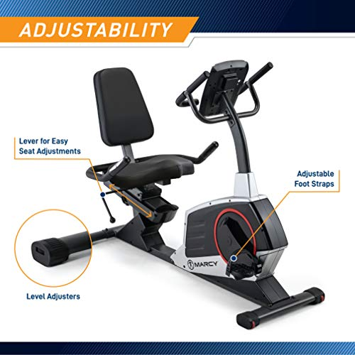Product Image 4: Marcy Regenerating Recumbent Exercise Bike with Adjustable Seat, Pulse Monitor and Transport Wheels ME-706