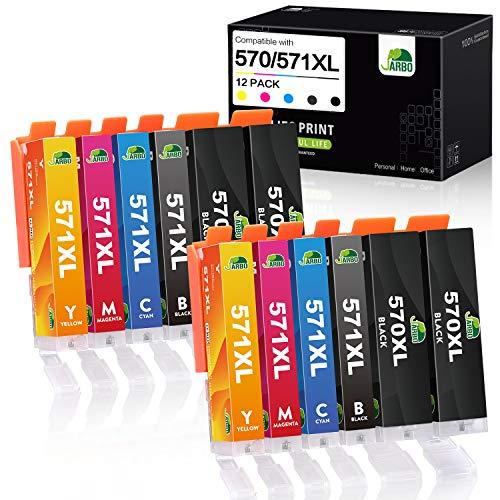 JARBO Cartucce d'inchiostro ad alta resa per Canon PGI-570 CLI-571, PIXMA MG5750 MG5751 MG5752 MG6850 MG6851 TS5050 TS5051 TS5053 TS6050 TS6051 4PGBK / 2 Nero / Cyan Magenta 2/2 / Giallo 2