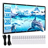 Powerextra 100 inch Projector Screen, 16:9 HD 4K Portable Foldable Anti-Crease Portable Washable Projection Screen, Double Sided Screen for Home Theater Cinema Indoor Outdoor