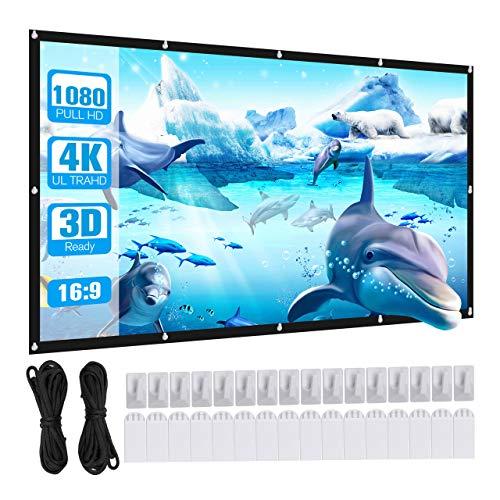 Powerextra HD 16: 9 100 Zoll Projektion Leinwand - Keine Falte tragbare Tasche Projektionswand Unterstützung Doppelseitigen Projektion für Heimkino und Freiluftkino