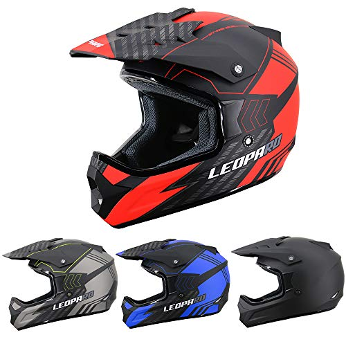 Leopard LEO-X307 Fullface Helm Motocrosshelme Integralhelm Motorradhelm Damen und Herren ECE Genehmigt Matt schwarz/Rot S (55-56cm)