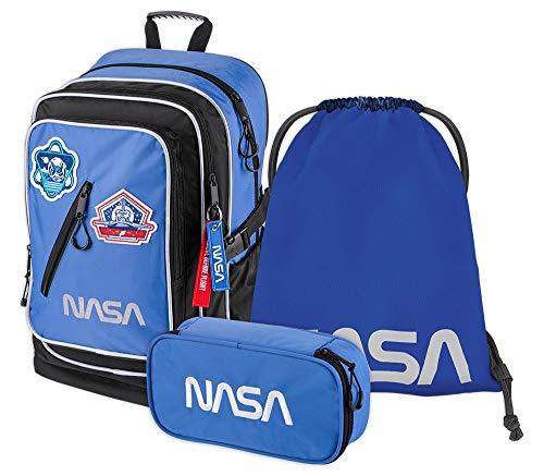 Schulrucksack Set Jungen 3 Teilig - Schultasche ab 3. Klasse - Grundschule Ranzen mit Brustgurt - Ergonomischer Schulranzen (NASA)