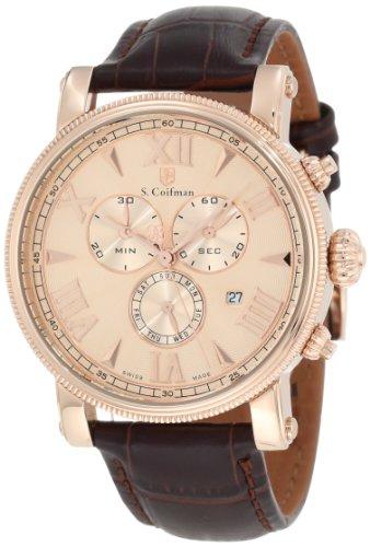 S.Coifman SC0302 Orologio da Polso, Display Cronografo, Uomo, Bracciale Pelle, Marrone