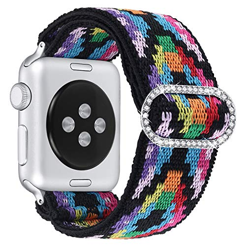 fastgo Elastic Adjustable Bling Band Compatible with Apple Watch Women 38mm 40mm, Fabric Stretchy Wristband Nylon Solo Loop Sport Strap Bracelet for Iwatch Series 6 5 4 3 2 1(Colorful, 38mm/40mm)