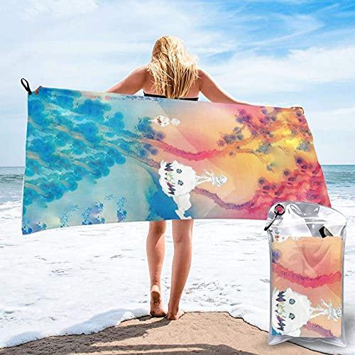 Lsjuee Kid cudi Toalla de playa de microfibra de secado rápido, bolsa de transporte, toalla súper absorbente, toalla sin arena, viajes, gimnasio, camping, piscina, yoga, al aire libre y picnic (15,7 x