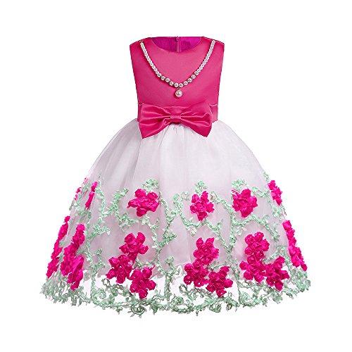 Mbby Vestiti Cerimonia Bambine,3-8 Anni Vestito da Carnevale per Bambina Abiti Principessa in Pizzo con Arco Senza Manica Ricamo Fiori Tulle Abito Tutu per Ragazza