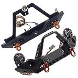 ORETG45 1/10 RC Auto parachoques delantero / trasero metal parachoques con luces LED RC Auto Parachoques Set para 1/10 RC Crawler TRX4 SCX10 90046