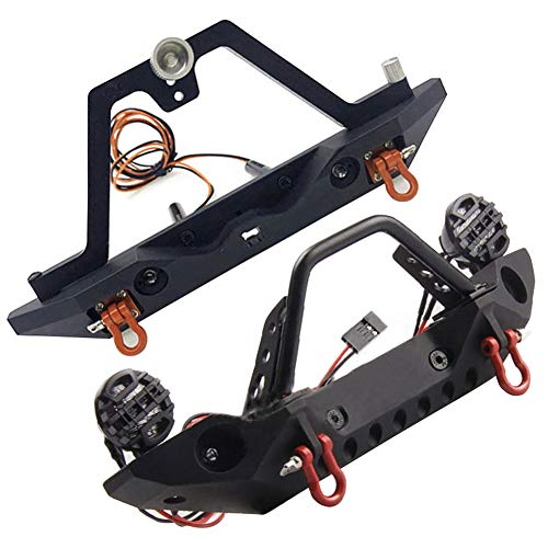 ORETG45 1/10 RC Pare-chocs avant / arrière en métal avec lumières LED RC pour 1/10 RC Crawler TRX4 SCX10 90046