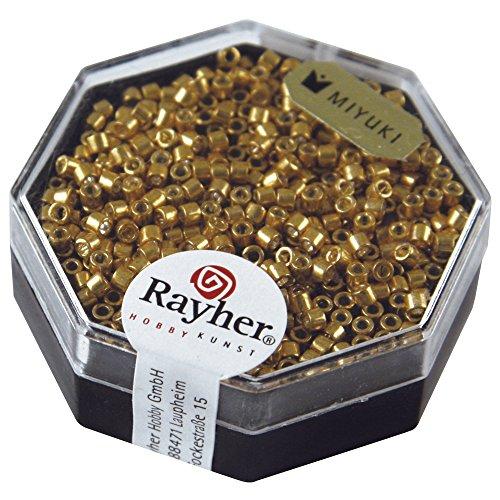 Rayher perles miyuki en verre 2 mm  perles de rocaille pour le tissage de perles  parfaites pour les loisirs créatifs  or métal