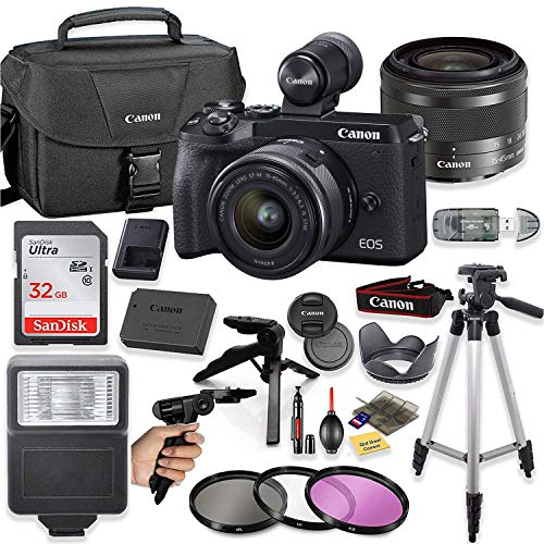 "Canon EOS M6 Mark II Mirrorless Digital Camera (Black) EVF-DC2 Viewfinder Kit with 15-45mm STM Lens + Sandisk 32GB Card, Canon Case, Flash, Grip Tripod, 50"" Tripod, and More."