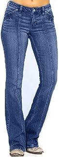 FELZ Pantalones Vaqueros Mujer Talla Grande Pantalones De Mezclilla para Mujer Cintura Media Jeans Acampanados con Botones...