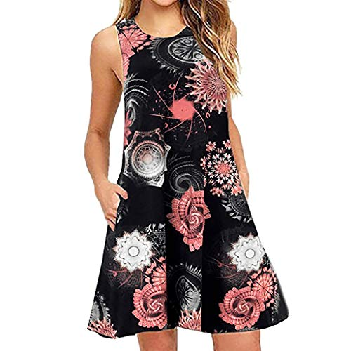 Women's Summer Casual Sleeveless Sundress Floral Loose A-Line Swing Mini Tunic Dress with Pocket(Black,L)