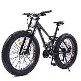 DJYD 26-Zoll-Frauen Mountainbikes, Doppelscheibenbremse Fat Tire Mountain Trail Bike, Hardtail Mountainbike, Verstellbarer Sitz Fahrrad, High-Carbon Stahlrahmen, Schwarz, 24-Gang FDWFN