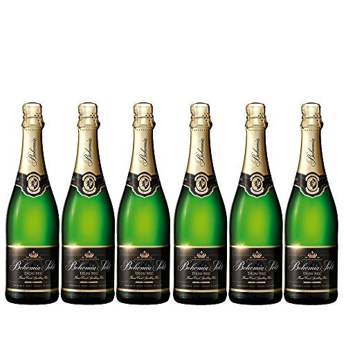 Bohemia Sekt demi sec Halbtrocken, 6 Flaschen vollen blumiger und prickelnder Partysekt zum Anstoßen (6 x 0.75 l)