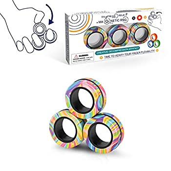 Magnetic Rings Fidget Toy Set Idea ADHD Fidget Toys Adult Fidget Magnets Spinner Rings for Anxiety Relief Therapy Fidget Pack Great Gift for Adults Teens Kids  3PCS