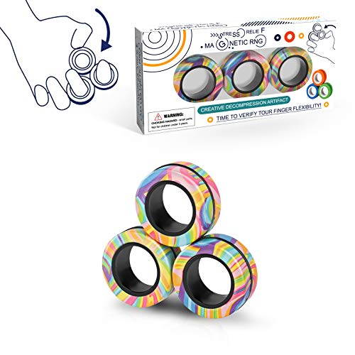 Magnetic Rings Fidget Toy Set, Idea ADHD Fidget Toys, Adult Fidget Magnets Spinner Rings for Anxiety...