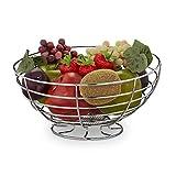 Relaxdays Frutero para verduras, pan y frutas, de pie, redondo, de cocina, moderno, cesta de frutas, metal, altura 12 x 24,5 cm, plata 10030055