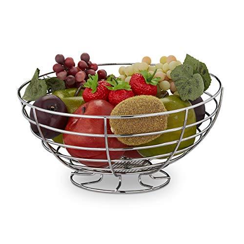Relaxdays Obstschale, für Gemüse, Brot & Obst, stehend, rund, Küche, modern, Obstkorb, Metall, HxD: 12 x 24,5 cm, silber