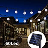Solar String Lights 33 Feet 60 LED Outdoor Crystal Balls Waterproof Globe Fairy Lights 8 Modes Decoration Light for Patio Lawn Garden Wedding Party Home Yard Lawn Holiday (Cool White)
