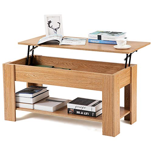 Leisure Zone Nature Wood Hydraulic Lifting Coffee Table, Oak Tea Table with Storage and Shelf for Living Room, Office, Study Room, Size: L 100cm W 45cm H 49-63cm