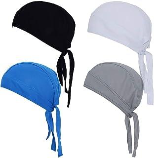 قبعة دو راغ كولينغ للراس، قبعة كبيرة من القماش المقاوم للعرق لراكبي الدراجات النارية، غطاء رأس ملتف برباط حول الجمجمة للرج...