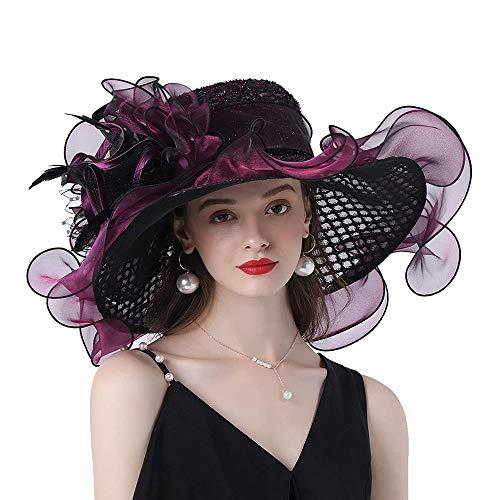 Frauen Organza Mesh-Wide Brim Fascinator Hut für Kentucky Derby Kirche Brautkleid Blumen Flat Hat Tee-Party-Kleid Hut Caps,Lila