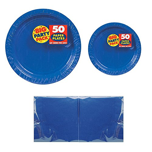 Serves 50 | Big Party Pack Royal Blue 50-Set (Dinner Plates, Dessert Plates, Luncheon Napkins) Party Avenue Bundle-Pack | Complete Party Pack | Baby Shower, Office parties, Birthday Parties, Festivals