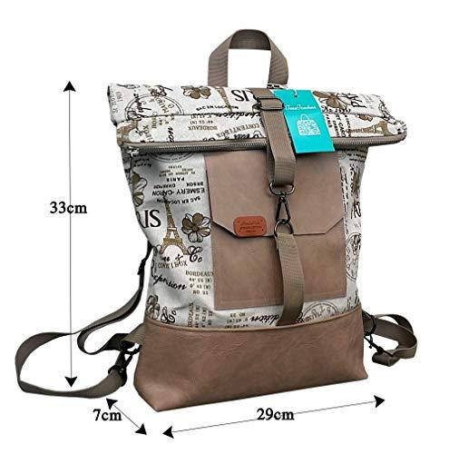Roll-Top Rucksack mit Natur-Beige- Braun Zeitungoptik.Rucksack aus öko-Leder und Gobelin. Tasche mit rucksackfunktion. Canvas Tasche mit Reißverschluss.