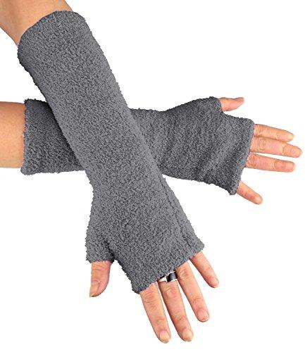 Caripe Fingerlose Armstulpen Damen Handschuhe Strick Stulpen lang, 11 (grau FLA new)