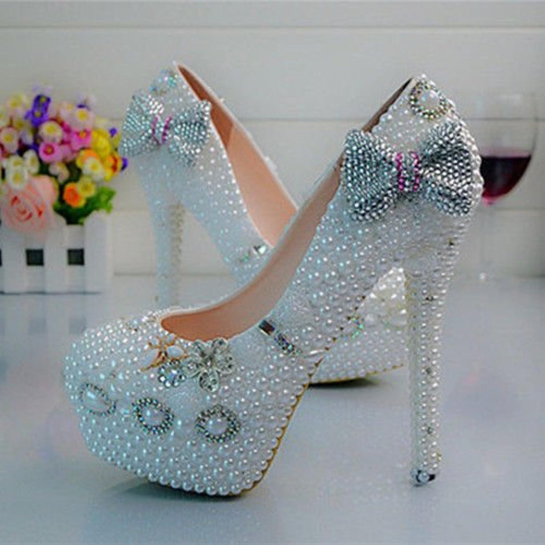 JINGXINSTORE Handgemachte Perle weiß Hochzeit Ball Club Schuh High Heel Abend  | Die Königin Der Qualität