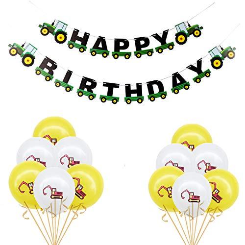 Oumezon Bagger kinderverjaardagsdecoratie, BAU verjaardagsfeestdecoratie, vrachtwagen-luchtballonnen voor Dumper Truck Car Zone onder het motto Party Favors decor jongens 1-12 jaar