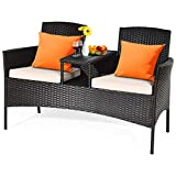 HAPPYGRILL Outdoor Loveseat Set Patio Wicker Conversation Set with Removable...