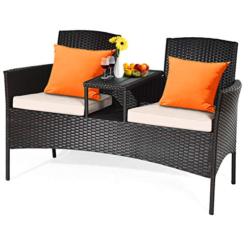 HAPPYGRILL Outdoor Loveseat Set Patio Wicker Conversation Set with Removable Cushions and Coffee Table Sofa Outdoor Rattan Sofa Furniture Set for Garden Lawn Backyard