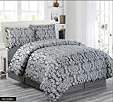 Comfy Decor - Set completo di biancheria da letto matrimoniale e king size, in jacquard moderno, di lusso, include 1 copripiumino, 1 mantovana e 2 federe moderno King Grigio