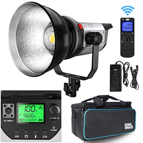 Pixel LED Video Light Studio Photography Continuous Output Lighting Spotlight 5600K,CRI 97+,TLCI 99+ with Remote Control Bowens Mount for Video Recording, Children Photography, Outdoor Shooting (200W)