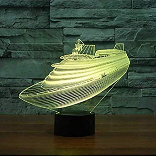 7 Kleuren veranderen 3D USB Tafellamp Sfeer Led Boot Nachtlampje Slaap naar Slaapkamer Cruise Decoratie Gift Modellering