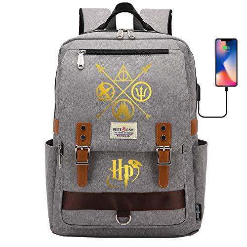 ANCHANG Zaino Harry P, Borsa da scuola Potter per adolescenti, Zaino stampato Fashion Magic Element, Zaino per studenti per la scuola 42CMX30CMX16CM Grigio