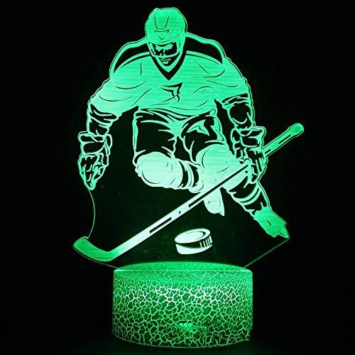 SYYUIN Luz de noche de 3D LED 16 colores luz de noche de reloj despertador bluetooth altavoz luz de humor Deportes hockey personajes. LED 3D NightLight Lámpara de noche Luz Luminary Lights Decoración