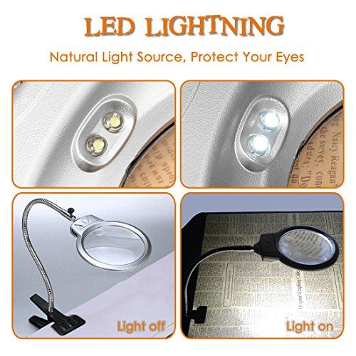 Rightwell Lupenleuchte Tisch Lupe Lampe mit 2 LED Lichters-2X,6X Klemmlupe mit der Starken Klammer Einem Tisch befestigen es zum Lesen,aber auch für handwerkliche Arbeiten - 4