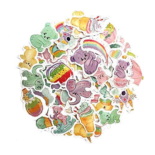 JZLMF Cartone Animato Simpatico Orso Cancelleria Adesivi Diario Account a Mano Adesivi per Bambini Adesivi per telefoni cellulari a Colori 50 Studenti