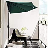 Nbvcxz Parasol Semi-Circulaire, terrasse extérieure 2,7 m 9 Pieds 5 Demi-Parapluie nervuré avec manivelle Tige inclinable 38 mm pour Balcon Abat-Jour Vert foncé
