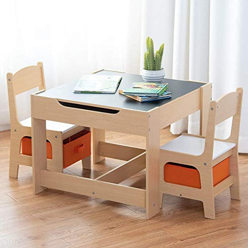 Costzon Kids Table and Chair Set, 3 in 1 Wood Activity Table for Toddlers Arts, Crafts, Drawing, Reading, Playroom, Toddler Table and Chair Set w/ 2 in 1 Tabletop, Storage Space, Gift for Boys & Girls