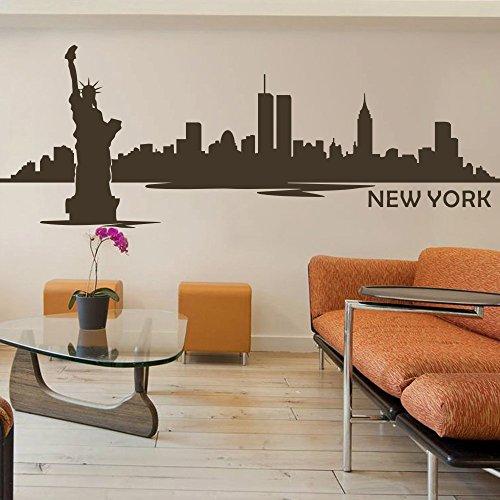 Vinyl New York Wall Decal New York City Wall Decor New York Skyline Wall Sticker mural Wall Graphic Living Room Wall Decor, vinyle, noir, 49\