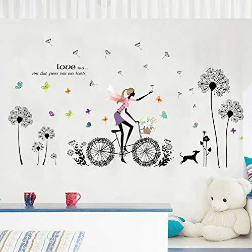 Wandtattoo,Cartoon Löwenzahn Biker Girl Welpen Schmetterling, Abnehmbare wasserdichte, Wohnzimmer Baby Kinder Schlafzimmer, Einem Zimmer In Einem Studentenwohnheim, Aufkleber Kunst Dekor, Wandbild P
