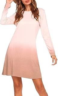 Howely Women Gradient Ramp Base Fall Winter Round Neck Long-Sleeve Mini Dresses