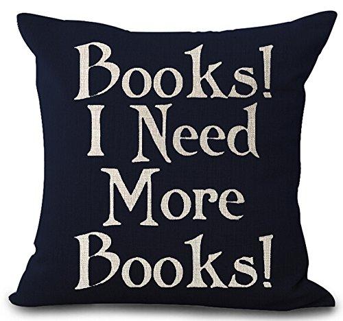 """Federa per amanti dei libri con scritta in inglese """"I Like Big Books and I cannot lie"""", in lino e cotone, per cuscino quadrato 45,7x 45,7cm, Tessuto, 1, 18"""