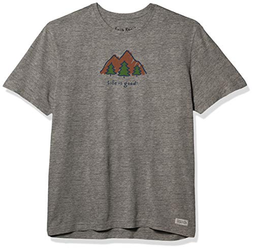Life is Good Mens Vintage Crusher Outdoor Graphic T-Shirt, Mountains Heather Gray, Large
